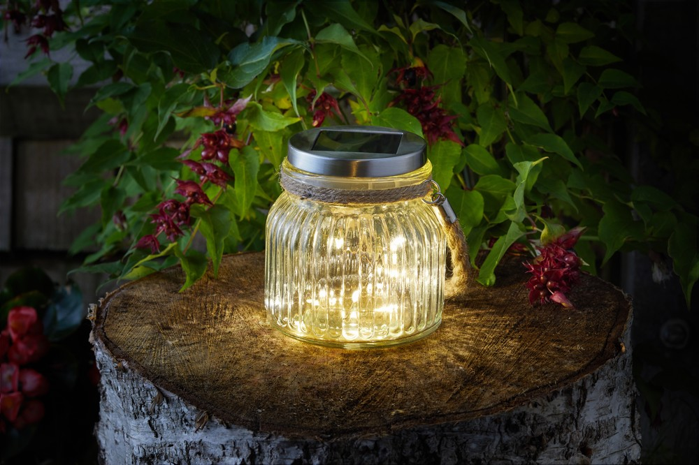 Firefly Glass Jar Blue Diamond Garden, Noma Jam Jar Outdoor Lantern