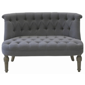 French Sofa In Grey Linen Fabric