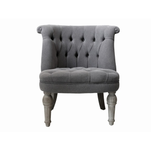 French Armchair In Grey Linen Fabric