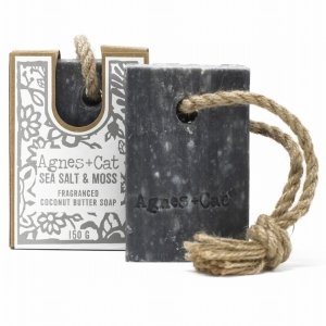 Agnes+Cat Soap On A Rope Sea Salt And Moss 150g