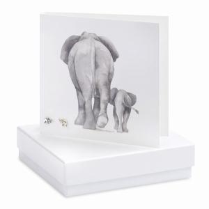 Earrings Mum And Baby Elephants