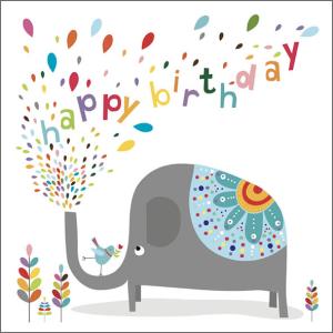 Shiny and Bright 14.5 cm x 14.5 cm Birthday Card Elephant