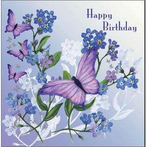 Glitter Bugs 16 x 16 cm Birthday Card Forget me not butterfly