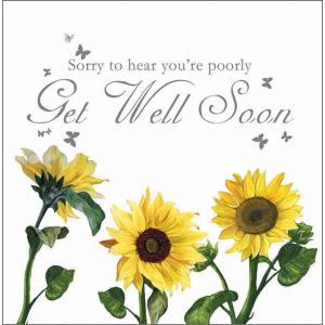 Angela Faulkner Red Lotus 16 cm x 16 cm Get Well Card/Sunflowers