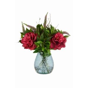 Red Peonies In Blue Vase
