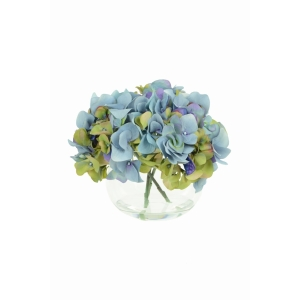 Blue Hydrangeas In Globe Vase