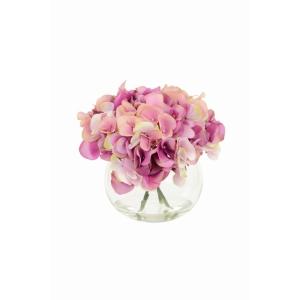 Hydrangeas In Globe Vase Pink