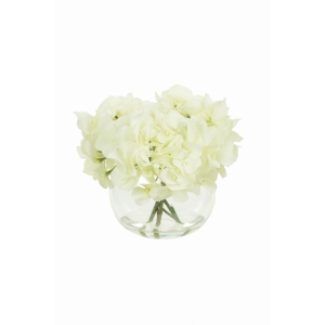 Hydrangeas In Globe Vase White
