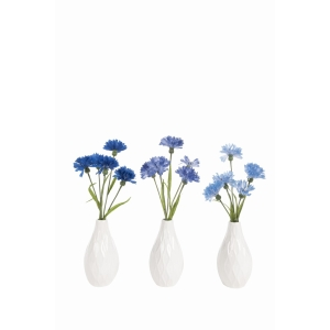 Cornflowers In Geometric Vase