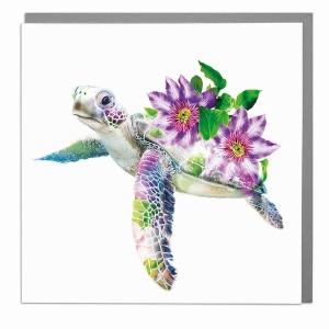 Wildlife Botanical Tortoise greeting card by Lola Design