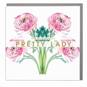 Happy Birthday Lady Floral greeting card by Lola Design