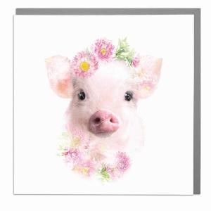 Wildlife Botanical Micro Pig greeting card by Lola Design