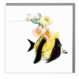 Wildlife Botanical Angel Fish greeting card by Lola Design