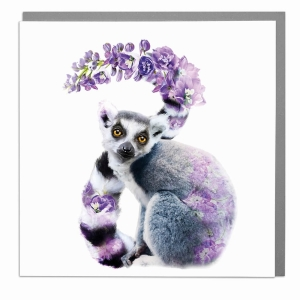 Wildlife Botanical Ring tailed Lemur greeting card