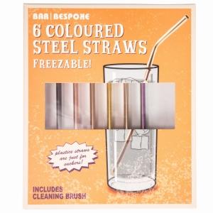 6 Bar Bespoke Coloured Steel Straws & Cleaning Brush