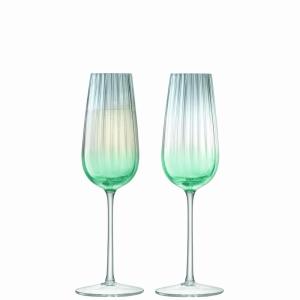 LSA Dusk Champagne Flute Green+Grey 2Pk