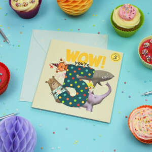Wow Youre 5 (Five) Birthday Card Book