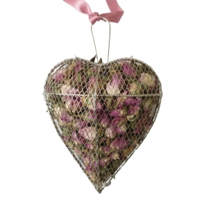 Rosebud Filled Silver Metal Mesh Heart
