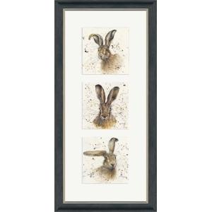 Hares Triptych Frame Portrait Grey