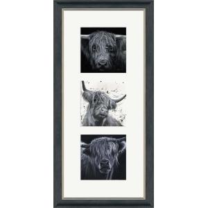 Highlanders Triptych Frame Portrait Grey