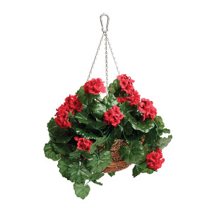 Artificial Geranium Hanging Basket 12 inch