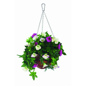 Artificial Petunia Hanging Basket 12 Inch