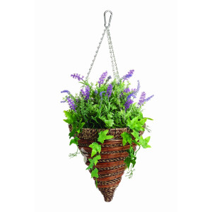 Artificial Lavender and Ivy Hanging Cone 12 Inch