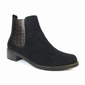Ladies Chelsea Boot With Contrast Print Elastic Black