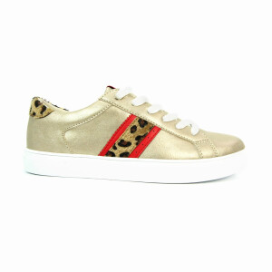 Ladies Trainer With Leopard Print Side Stripe Gold