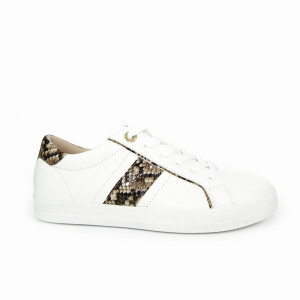 Ladies Trainer With Snake Print Side Stripe White