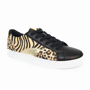 Ladies Trainer With Animal Print Panels Black