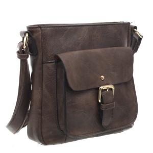 Ladies Cross Body Satchel Bag Dark Taupe