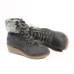 Ladies Lace Up Boot With Wedge Heel And Fur Cuff Charcoal