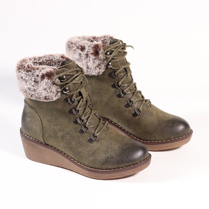 Ladies Lace Up Boot With Wedge Heel And Fur Cuff Khaki