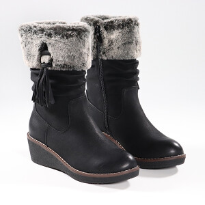Ladies Wedge Heel Boot With Turn Over Fur Cuff Black