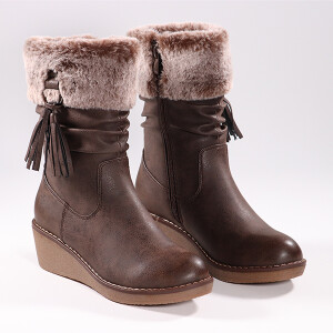 Ladies Wedge Heel Boot With Turn Over Fur Cuff Chocolate