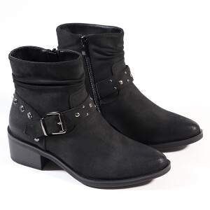 Ladies Biker Boot With Stud Detail Black