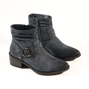 Ladies Biker Boot With Stud Detail Denim Blue