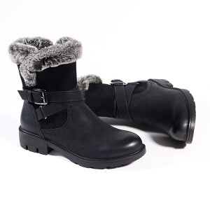 Ladies Boot With Fur And Buckle Detail Black