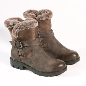 Ladies Boot With Fur And Buckle Detail Brown