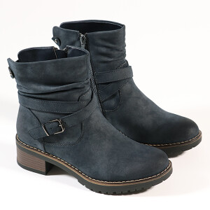 Ladies Casual Boot With Chunky Sole And Buckle Detail Denim