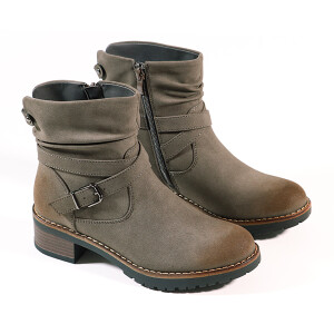 Ladies Casual Boot With Chunky Sole And Buckle Detail Taupe