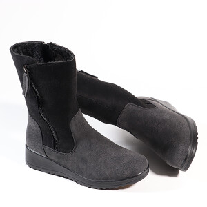 Ladies Mid Length Boot With Wedge Heel And Side Zip Black