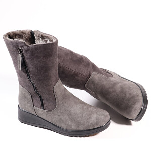 Ladies Mid Length Boot With Wedge Heel And Side Zip Grey