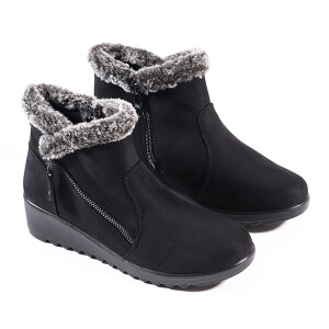 Ladies Ankle Boot With Faux Fur And Zip Detail Black