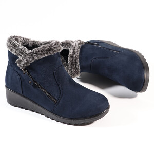 Ladies Ankle Boot With Faux Fur And Zip Detail Navy