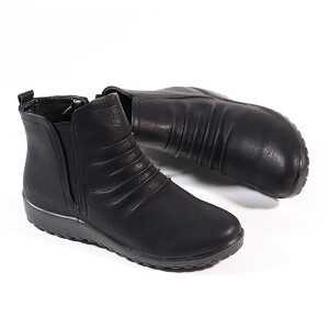 Ladies Flat Ankle Boot With Ruched Detail Black