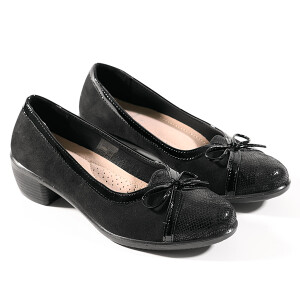 Ladies Comfort Ballet Pump With Bow Detail Black