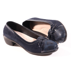 Ladies Comfort Ballet Pump With Bow Detail Navy
