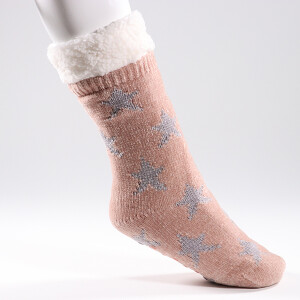 Ladies Cosy Lined Slipper Socks Star Pink